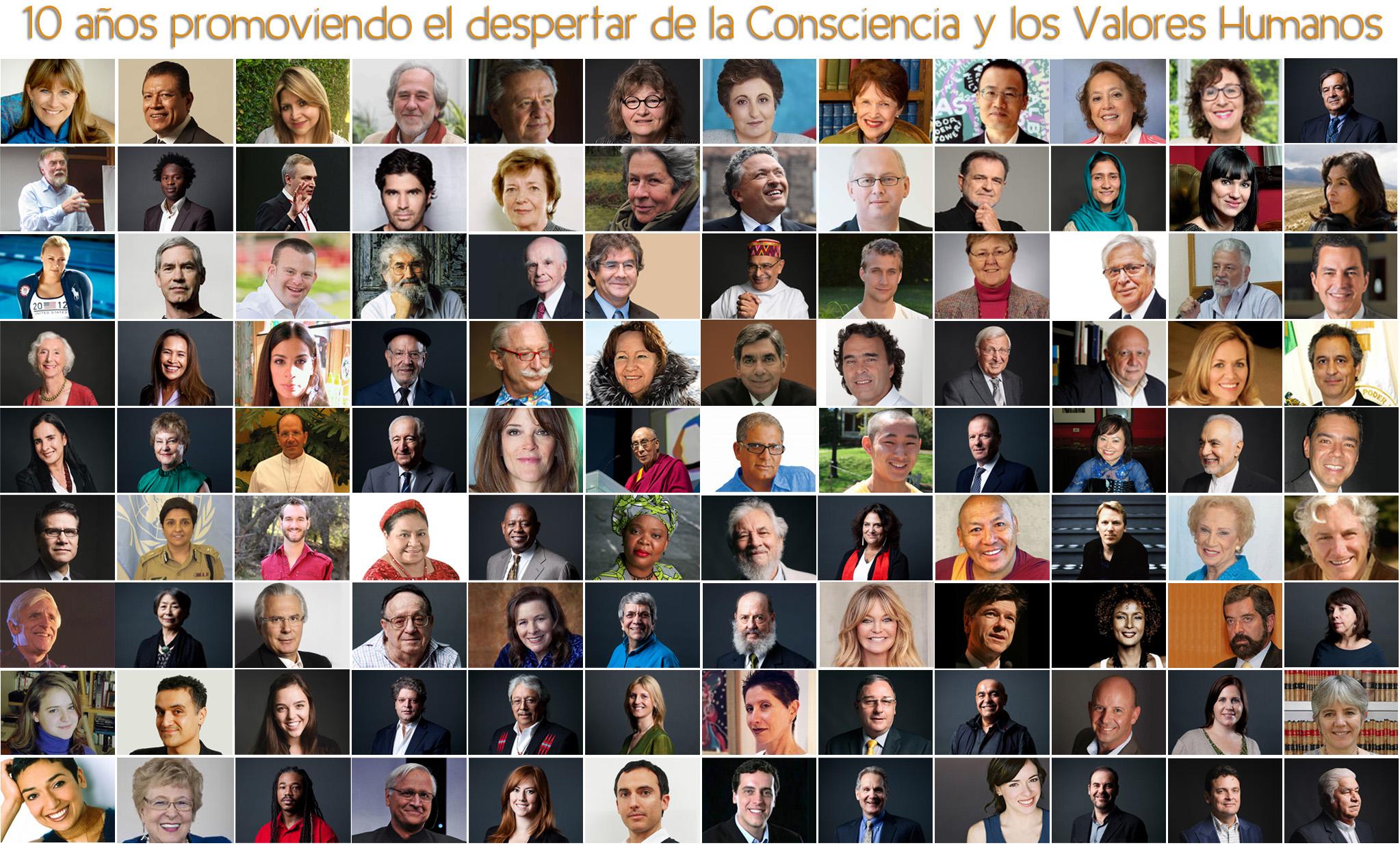 Personajes que han participado en el Encuentro Mundial de Valores. Foto: EMV.