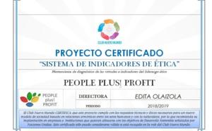 """El Club Nuevo Mundo certifica el proyecto """"Sistema de Indicadores de Ética"""""""